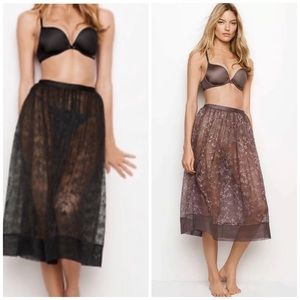 Victoria's Secret Sheer Mesh Floral Lace Skirt